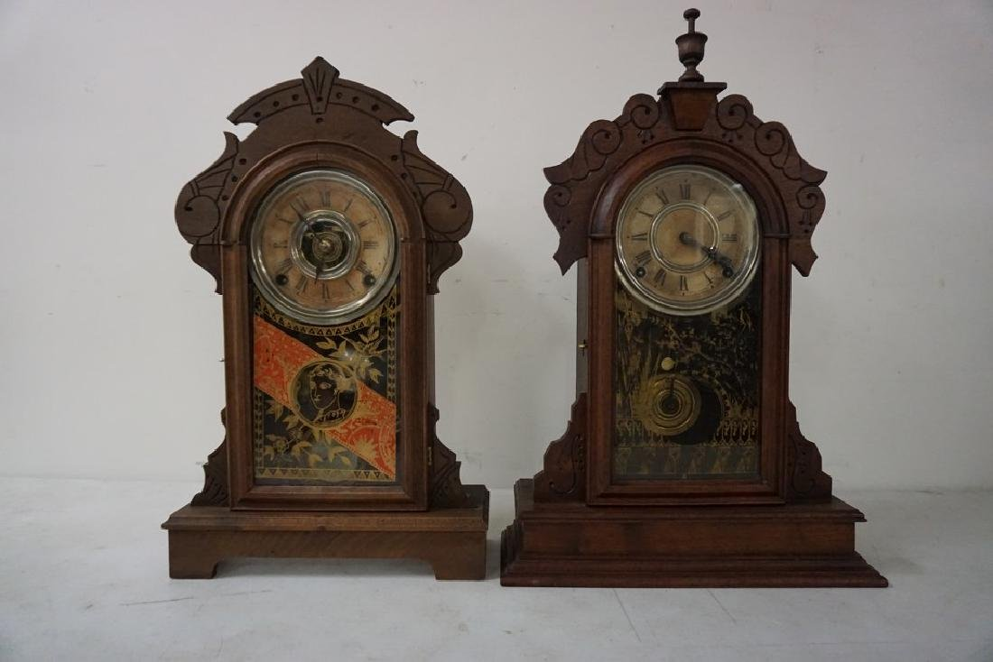 (2) VICTORIAN MANTEL CLOCKS, BOTH WALNUT, ORIGINAL