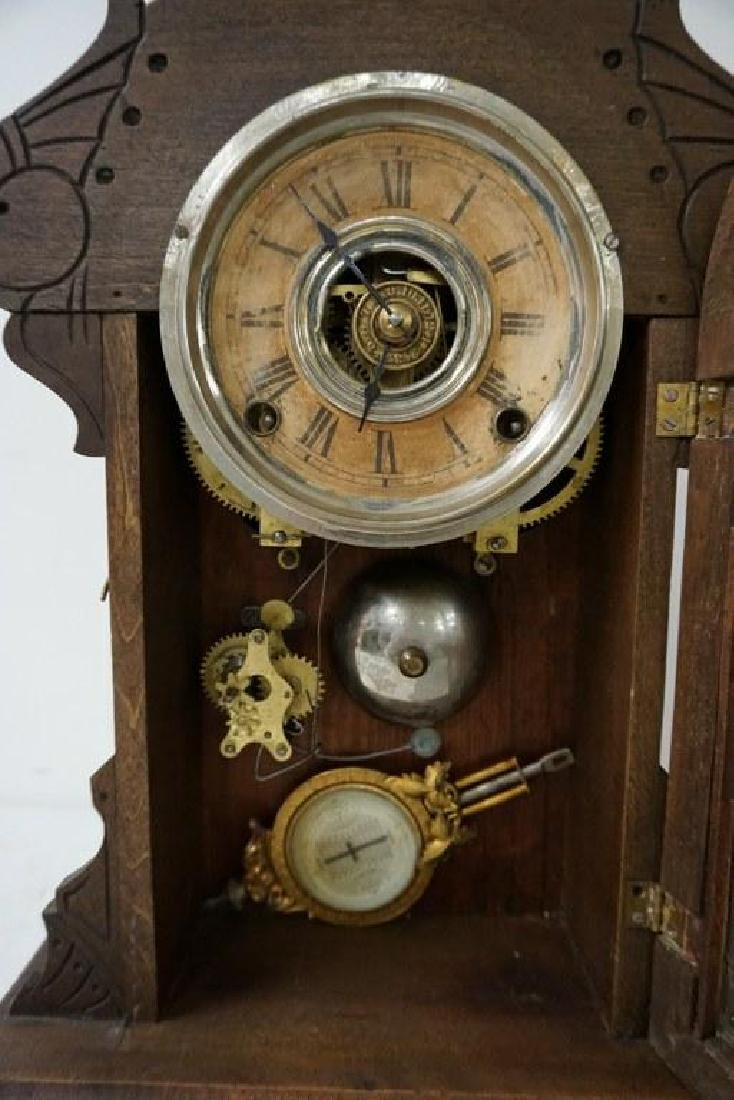 (2) VICTORIAN MANTEL CLOCKS, BOTH WALNUT, ORIGINAL - 2