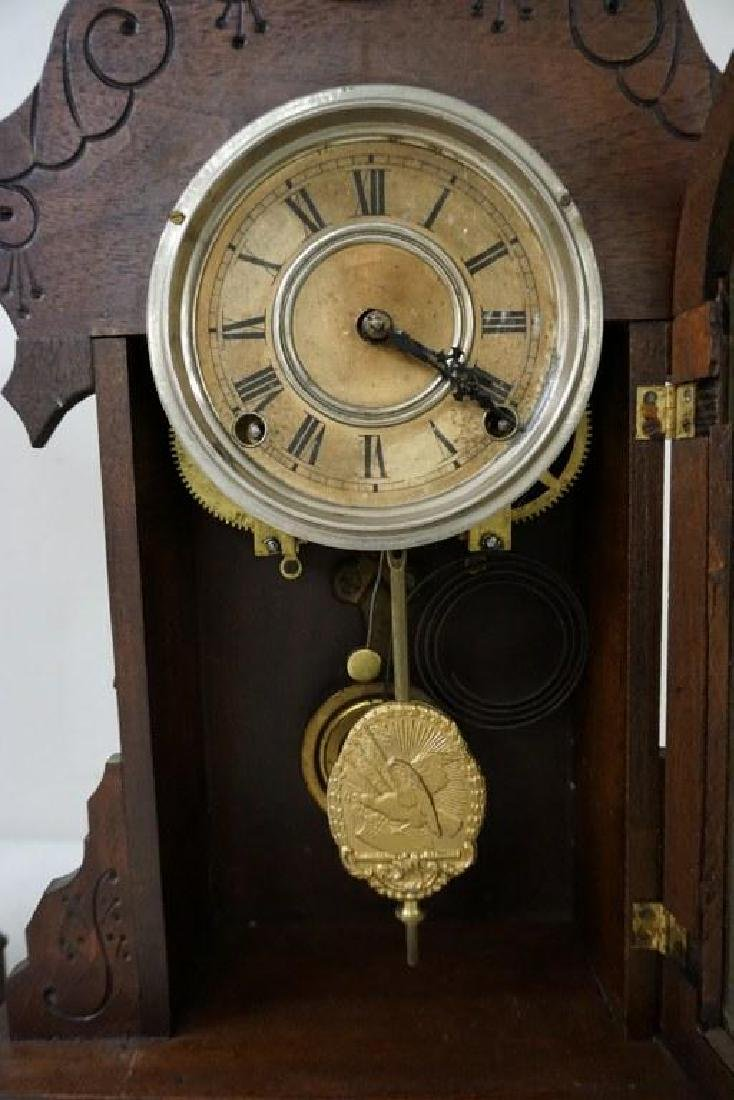 (2) VICTORIAN MANTEL CLOCKS, BOTH WALNUT, ORIGINAL - 3