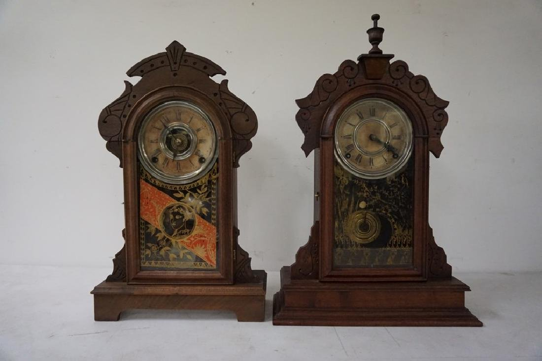 (2) VICTORIAN MANTEL CLOCKS, BOTH WALNUT, ORIGINAL - 4