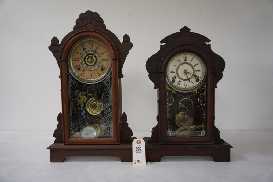 (2) VICTORIAN WALNUT MANTEL CLOCKS, WITH PENDULUMS, AND