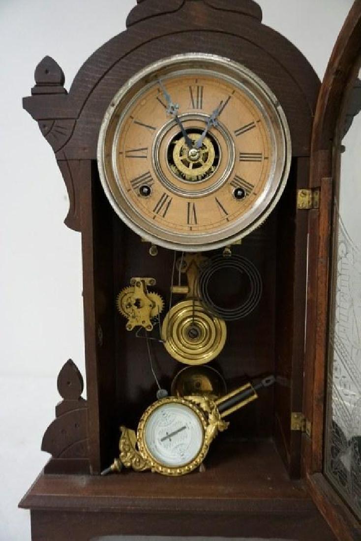 (2) VICTORIAN WALNUT MANTEL CLOCKS, WITH PENDULUMS, AND - 2