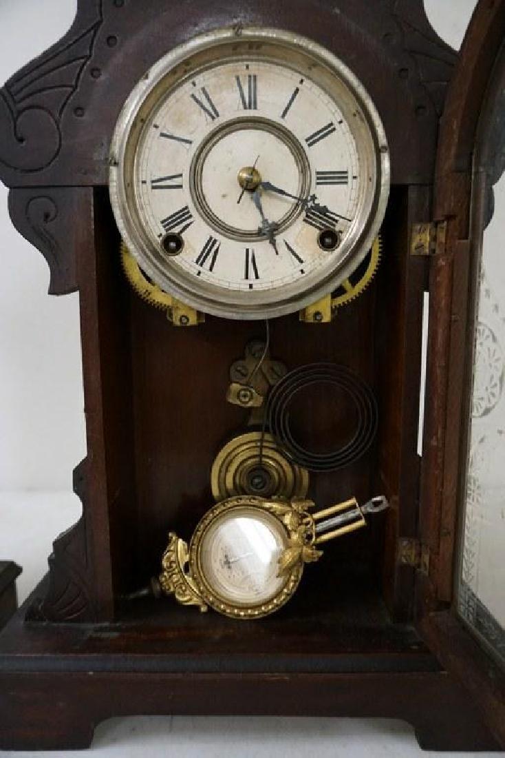 (2) VICTORIAN WALNUT MANTEL CLOCKS, WITH PENDULUMS, AND - 3