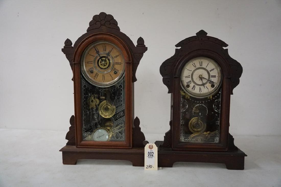(2) VICTORIAN WALNUT MANTEL CLOCKS, WITH PENDULUMS, AND - 4