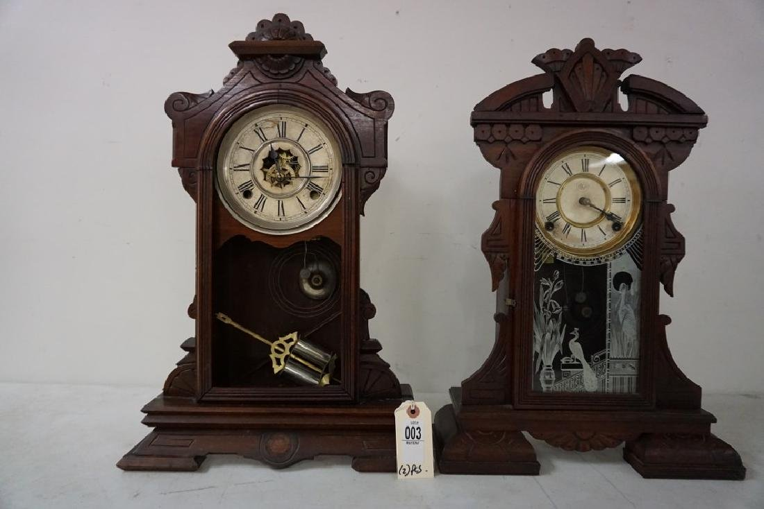 (2) VICTORIAN WALNUT MANTEL CLOCKS, WITH PENDULUMS,