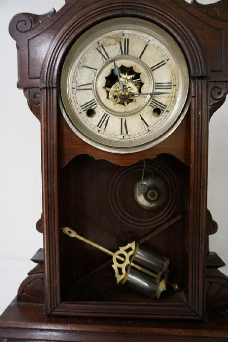 (2) VICTORIAN WALNUT MANTEL CLOCKS, WITH PENDULUMS, - 2