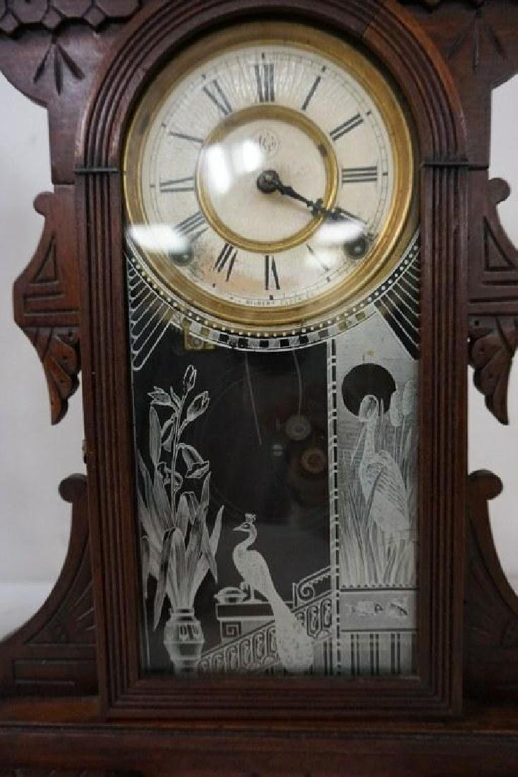 (2) VICTORIAN WALNUT MANTEL CLOCKS, WITH PENDULUMS, - 3