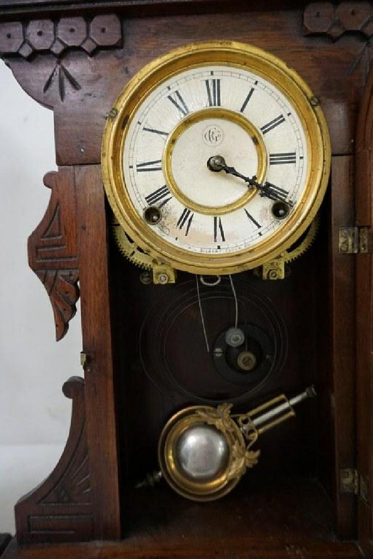 (2) VICTORIAN WALNUT MANTEL CLOCKS, WITH PENDULUMS, - 4