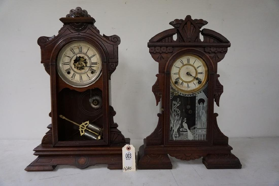 (2) VICTORIAN WALNUT MANTEL CLOCKS, WITH PENDULUMS, - 5
