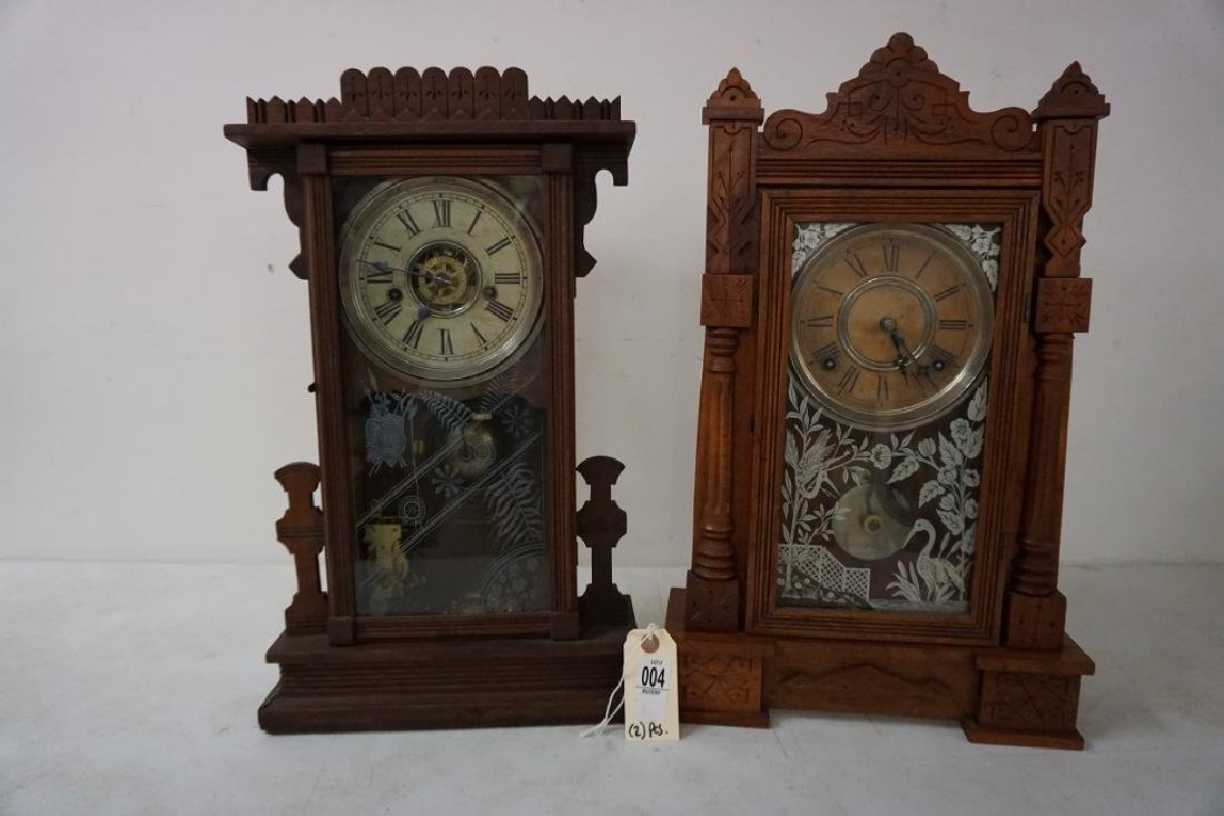 (2) VICTORIAN WALNUT MANTEL CLOCKS, WITH ORIGINAL