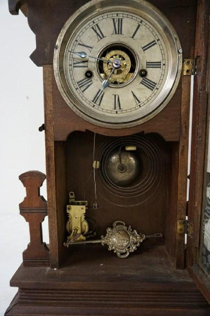 (2) VICTORIAN WALNUT MANTEL CLOCKS, WITH ORIGINAL - 2