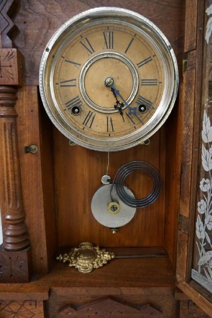 (2) VICTORIAN WALNUT MANTEL CLOCKS, WITH ORIGINAL - 3