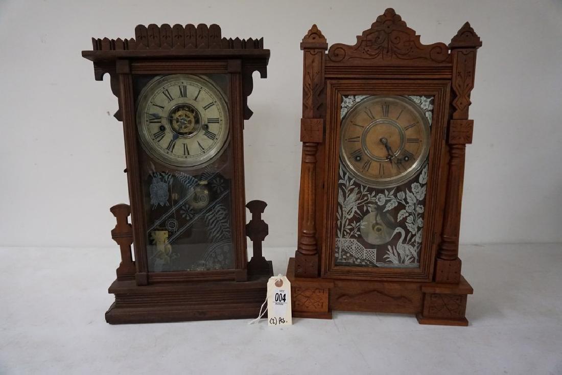 (2) VICTORIAN WALNUT MANTEL CLOCKS, WITH ORIGINAL - 4