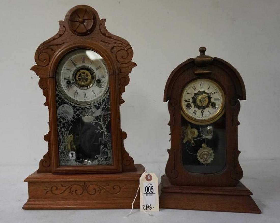 (2) VICTORIAN WALNUT MANTEL CLOCKS INCLUDING LARGER