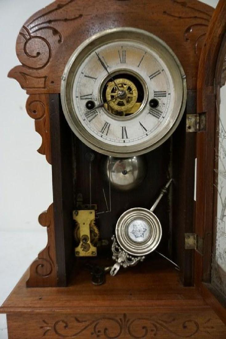 (2) VICTORIAN WALNUT MANTEL CLOCKS INCLUDING LARGER - 2
