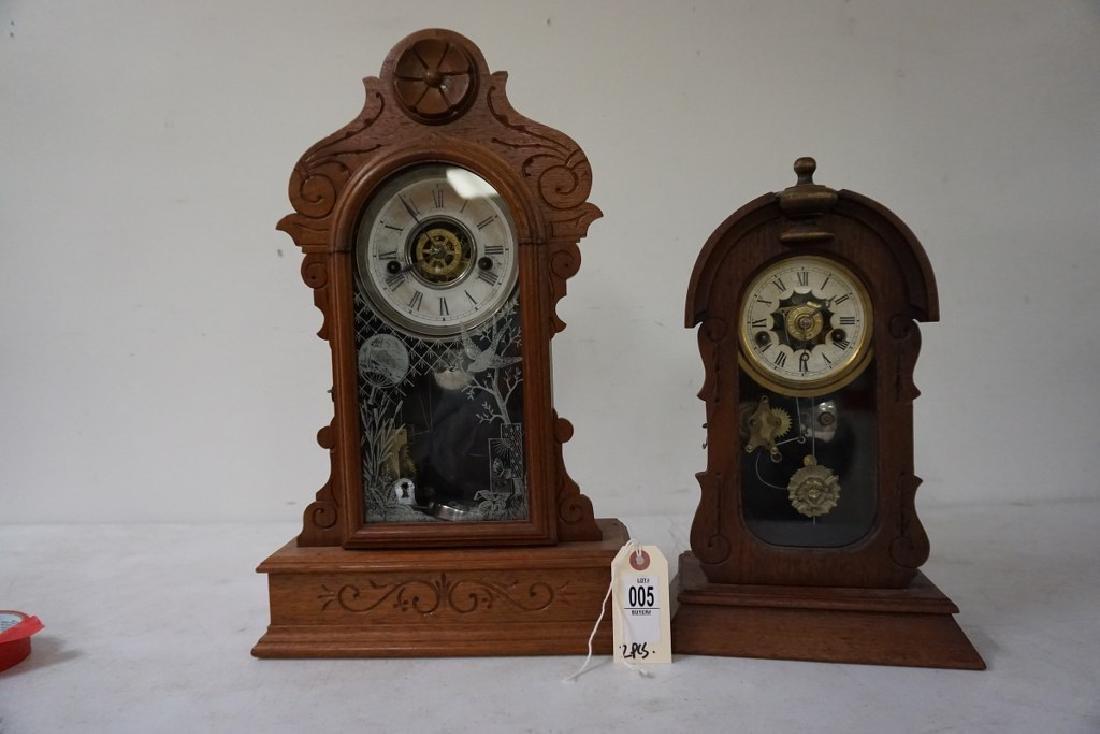 (2) VICTORIAN WALNUT MANTEL CLOCKS INCLUDING LARGER - 4