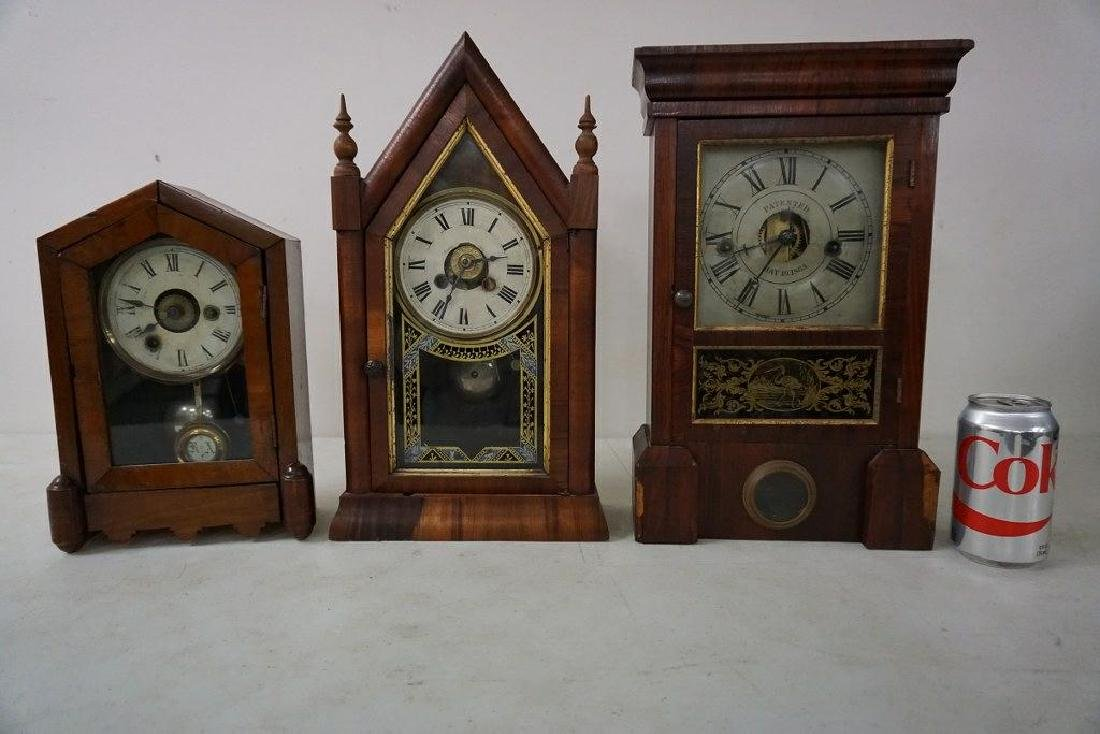 (3) EARLY MANTEL CLOCKS INCLUDING JEROME & CO. GOTHIC
