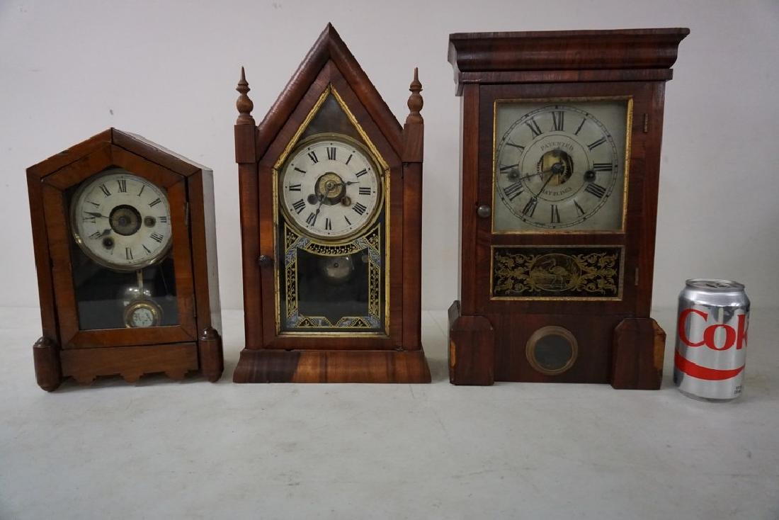 (3) EARLY MANTEL CLOCKS INCLUDING JEROME & CO. GOTHIC - 7