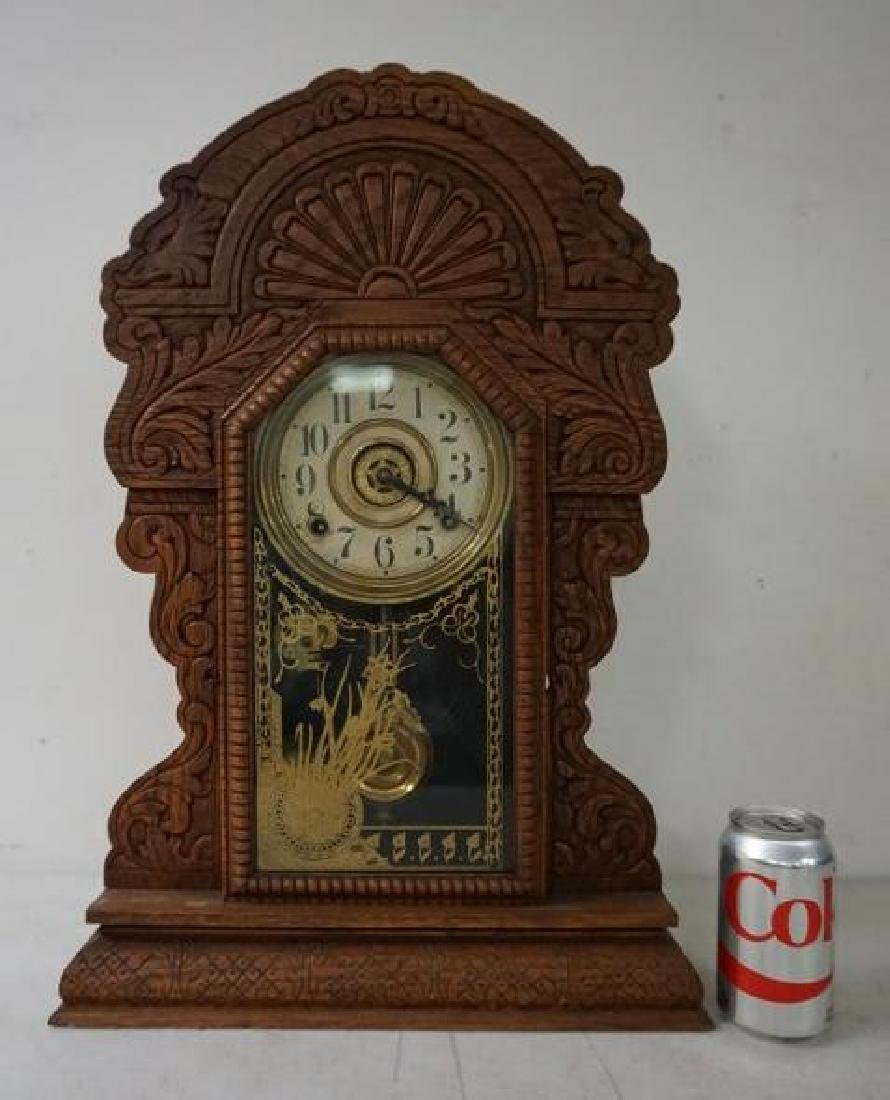 SESSIONS OAK GINGERBREAD MANTEL CLOCK, RUNNING, HAS