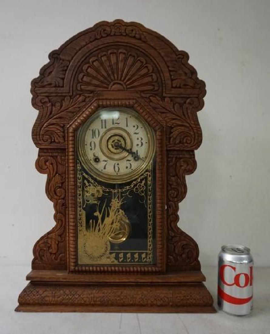 SESSIONS OAK GINGERBREAD MANTEL CLOCK, RUNNING, HAS