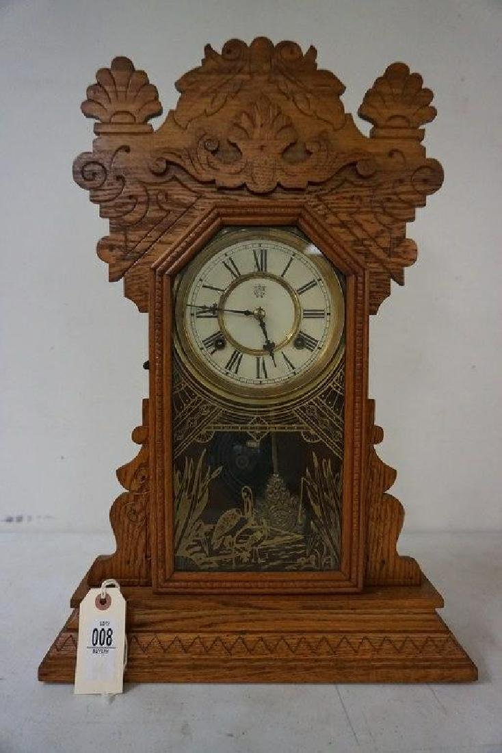 WATERBURY CLOCK CO. JAMAICA OAK MANTEL CLOCK, RUNNING,