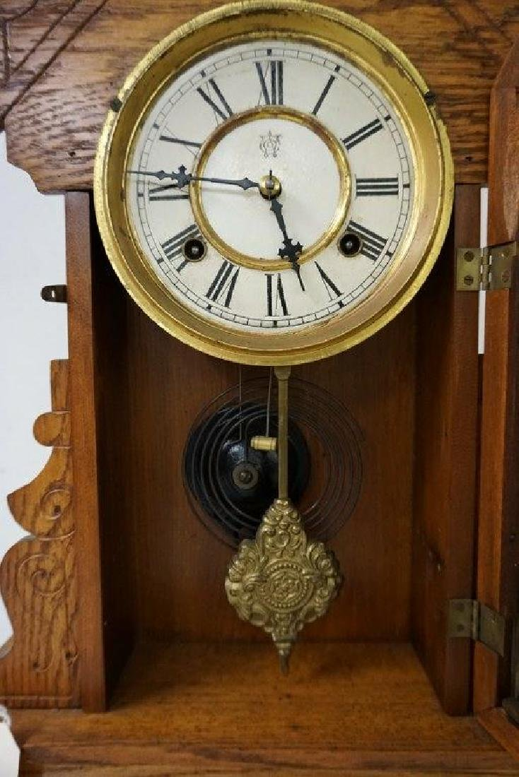 WATERBURY CLOCK CO. JAMAICA OAK MANTEL CLOCK, RUNNING, - 2