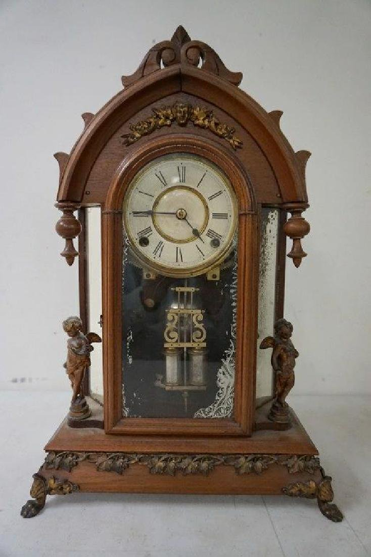 ANSONIA VICTORIAN MANTEL CLOCK WITH FIGURAL CHERUBS AND