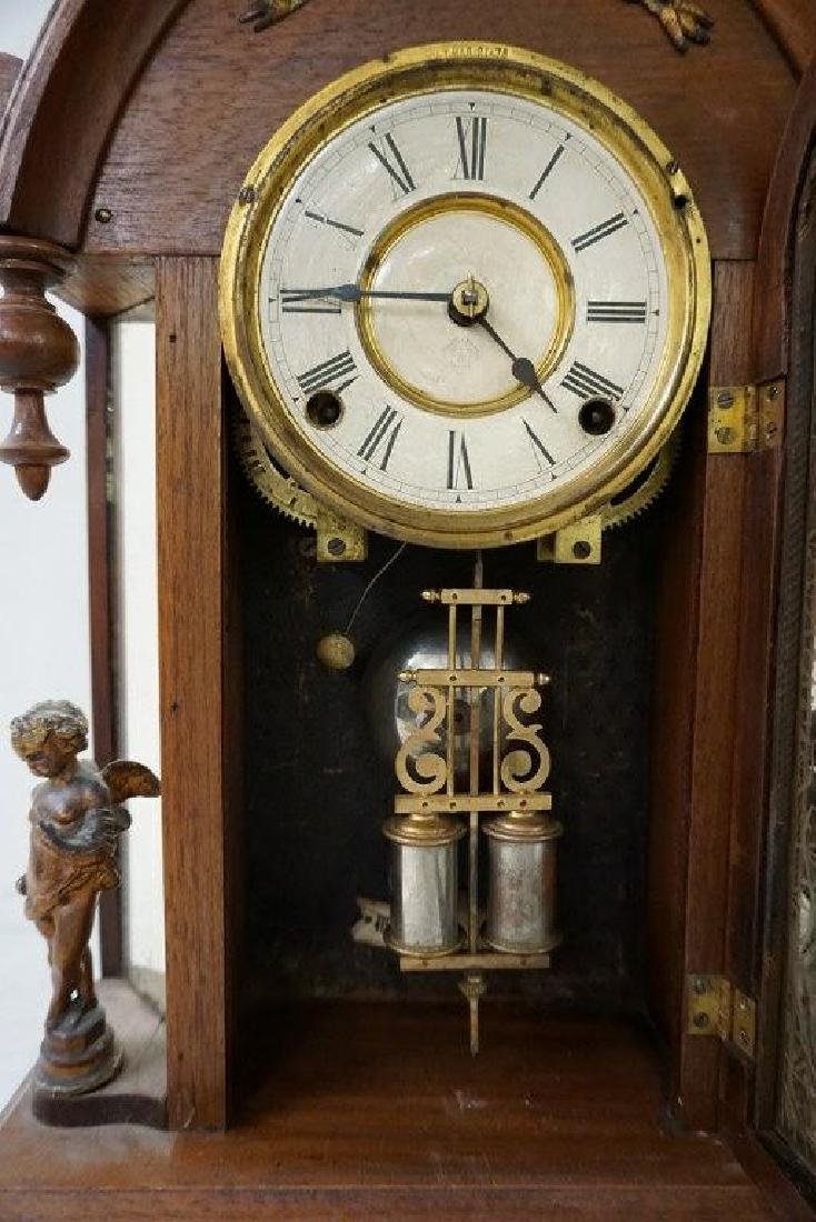 ANSONIA VICTORIAN MANTEL CLOCK WITH FIGURAL CHERUBS AND - 2