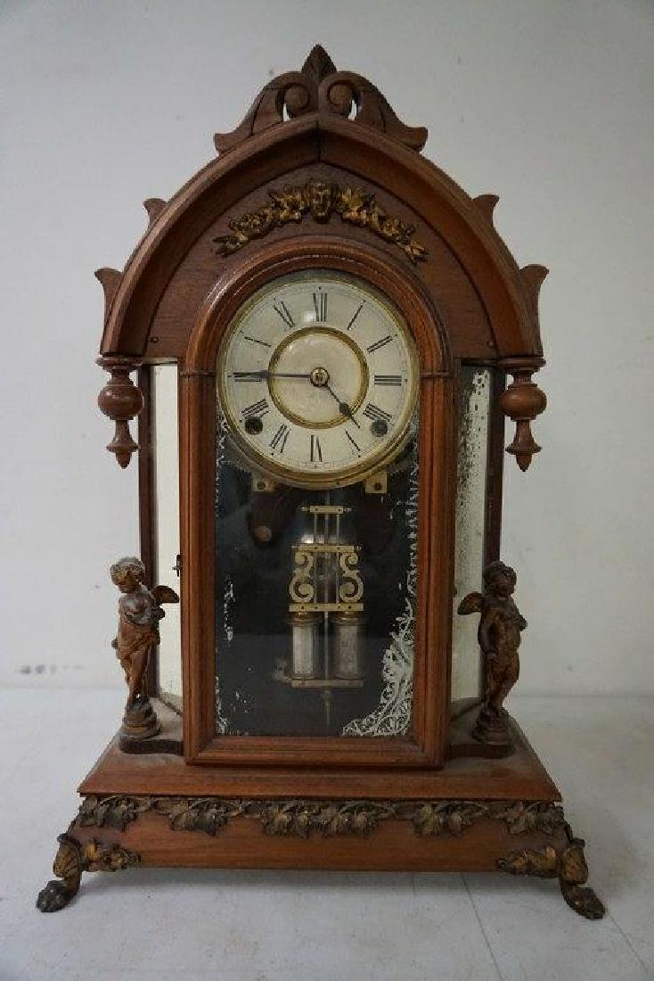 ANSONIA VICTORIAN MANTEL CLOCK WITH FIGURAL CHERUBS AND - 5