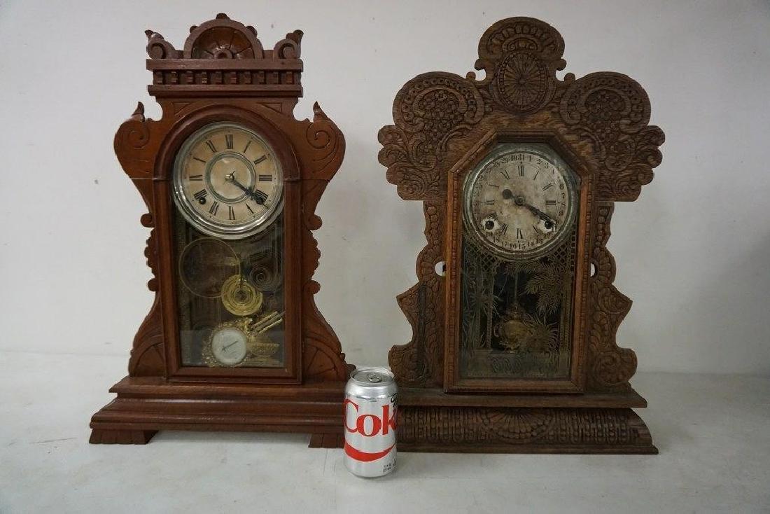(2) VICTORIAN MANTEL CLOCKS INCLUDING OAK GINGERBREAD