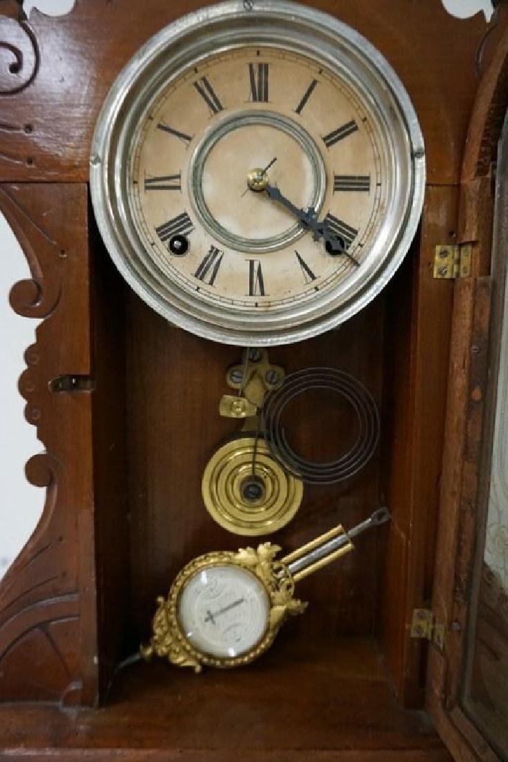 (2) VICTORIAN MANTEL CLOCKS INCLUDING OAK GINGERBREAD - 2