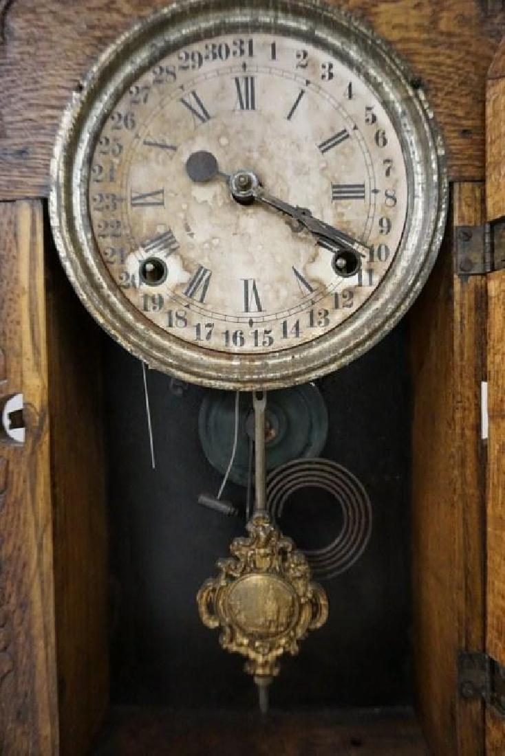(2) VICTORIAN MANTEL CLOCKS INCLUDING OAK GINGERBREAD - 3