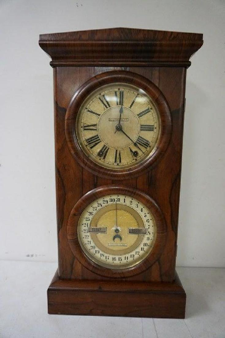 SETH THOMAS ROSEWOOD CALENDAR CLOCK, RUNNING, HAS KEY