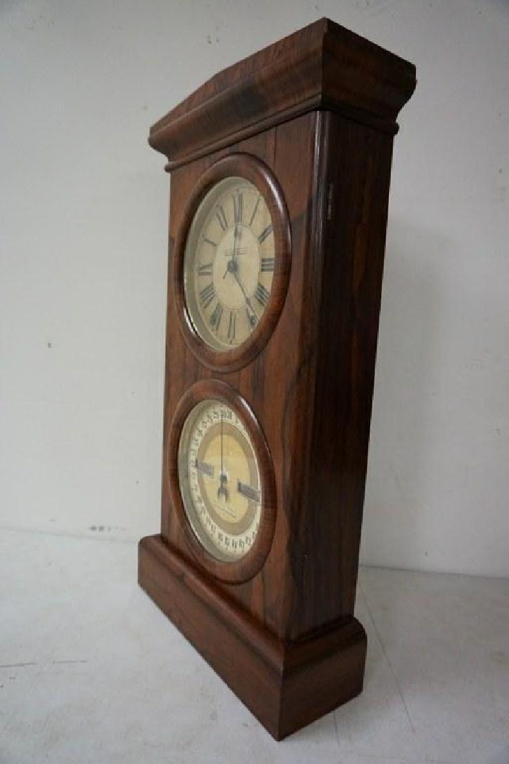 SETH THOMAS ROSEWOOD CALENDAR CLOCK, RUNNING, HAS KEY - 2