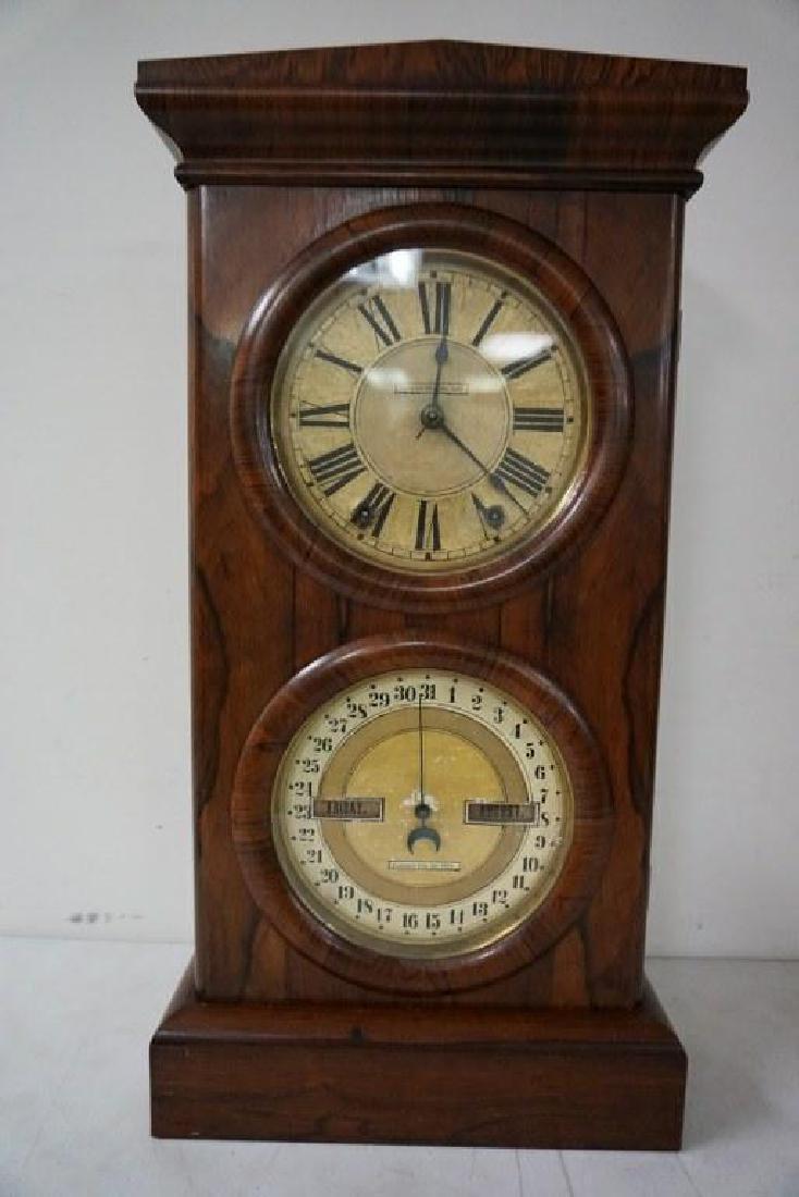 SETH THOMAS ROSEWOOD CALENDAR CLOCK, RUNNING, HAS KEY - 6