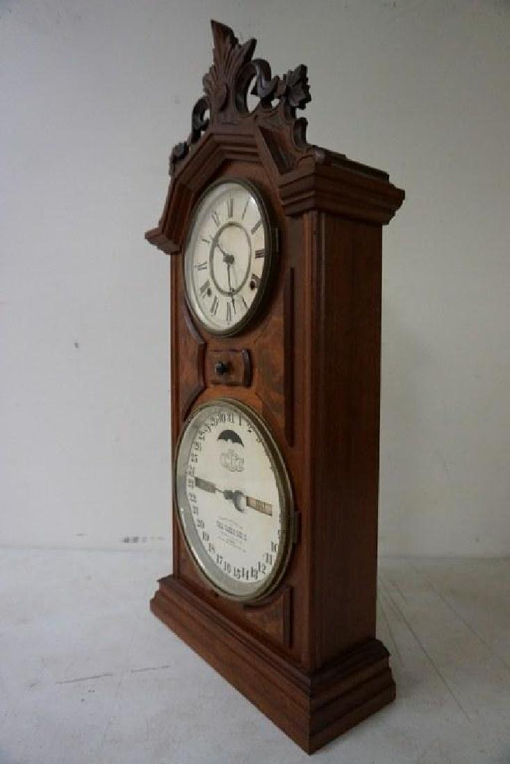 ITHACA CALENDAR CLOCK, VICTORIAN PERIOD, WALNUT, - 2