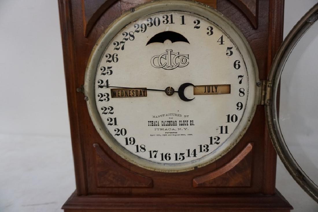 ITHACA CALENDAR CLOCK, VICTORIAN PERIOD, WALNUT, - 3