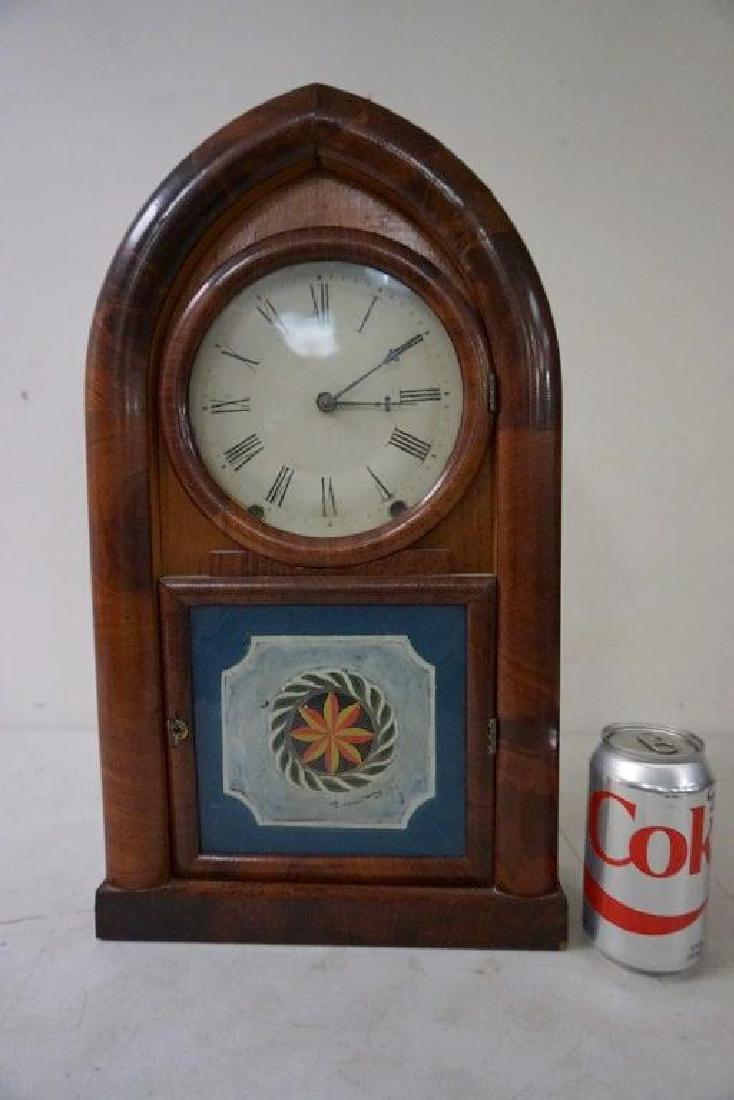 W.S. JOHNSON MAHOGANY BEEHIVE CLOCK WITH REVERSE