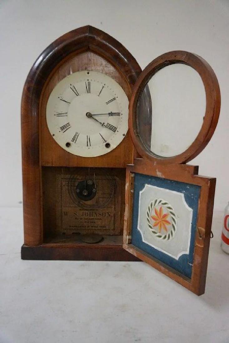 W.S. JOHNSON MAHOGANY BEEHIVE CLOCK WITH REVERSE - 2