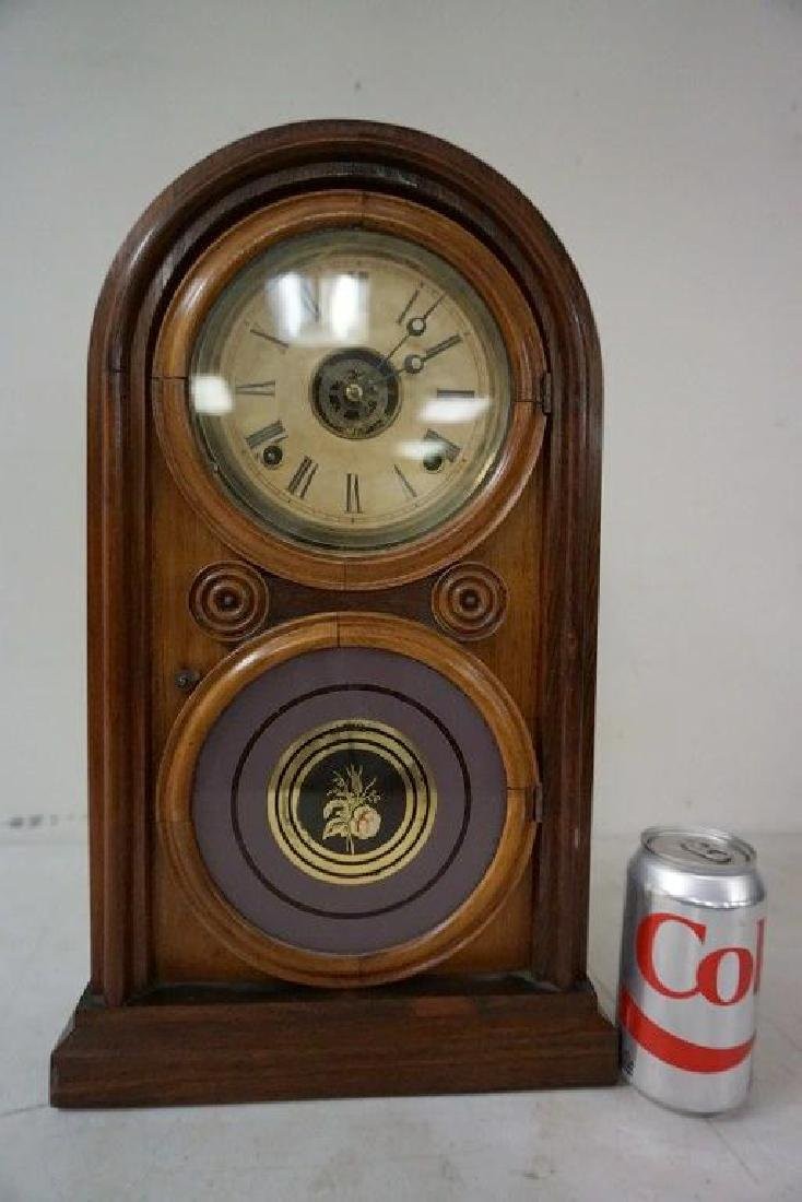 ROSEWOOD MANTEL CLOCK, RUNNING, HAS PENDULUM, NO KEY,