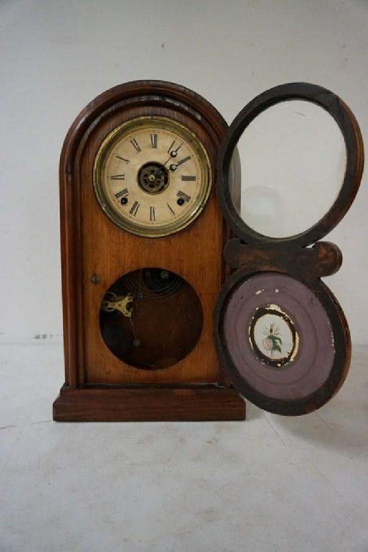 ROSEWOOD MANTEL CLOCK, RUNNING, HAS PENDULUM, NO KEY, - 2