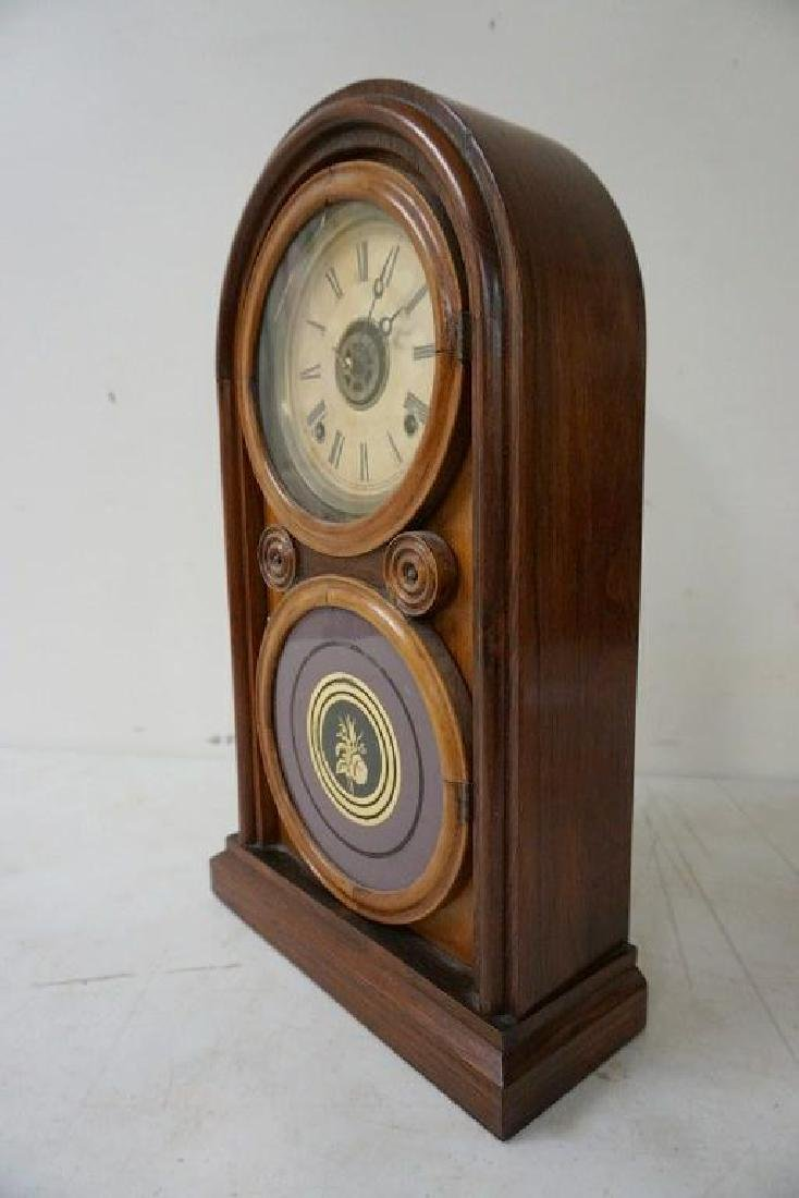 ROSEWOOD MANTEL CLOCK, RUNNING, HAS PENDULUM, NO KEY, - 5