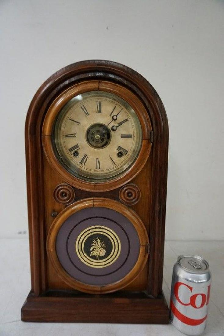 ROSEWOOD MANTEL CLOCK, RUNNING, HAS PENDULUM, NO KEY, - 6