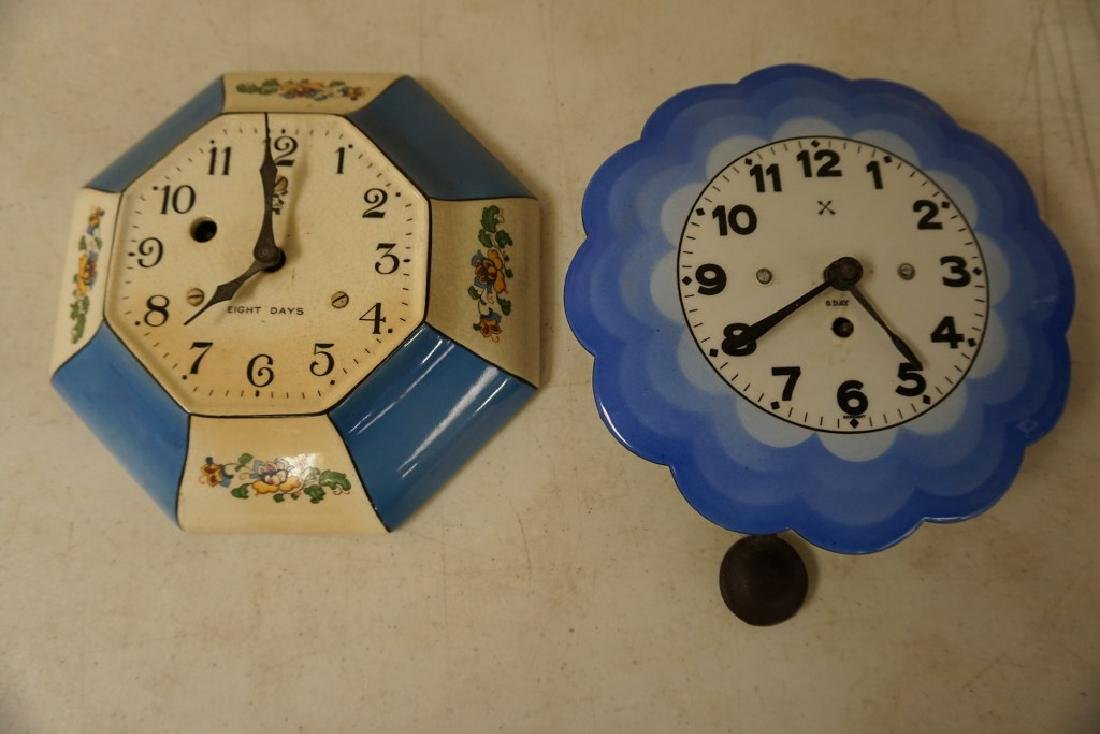 2 CIRCA 1920'S KITCHEN CLOCKS, BOTH 8 DAY, 1 PORCELAIN