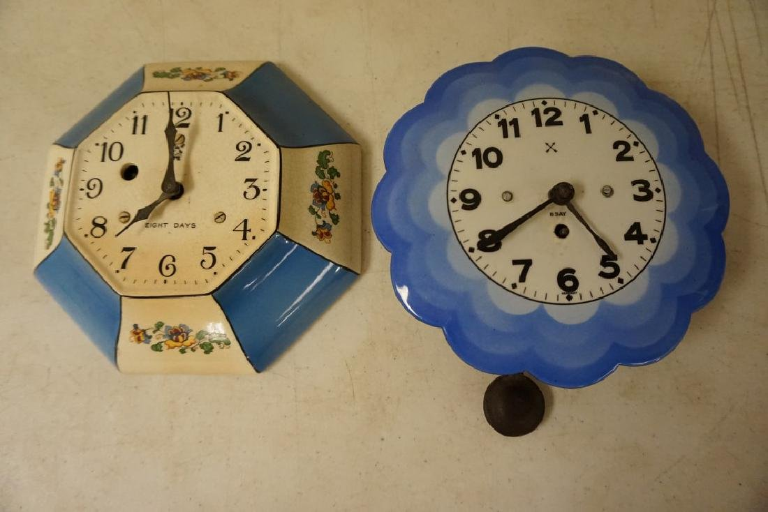2 CIRCA 1920'S KITCHEN CLOCKS, BOTH 8 DAY, 1 PORCELAIN - 3