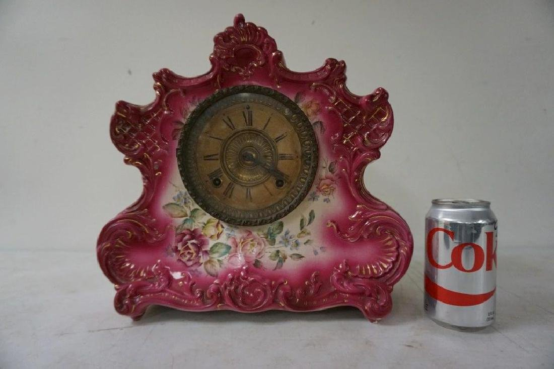 ANSONIA PORCELAIN CLOCK, DRESDEN EXTRA 8 DAY HOUR AND