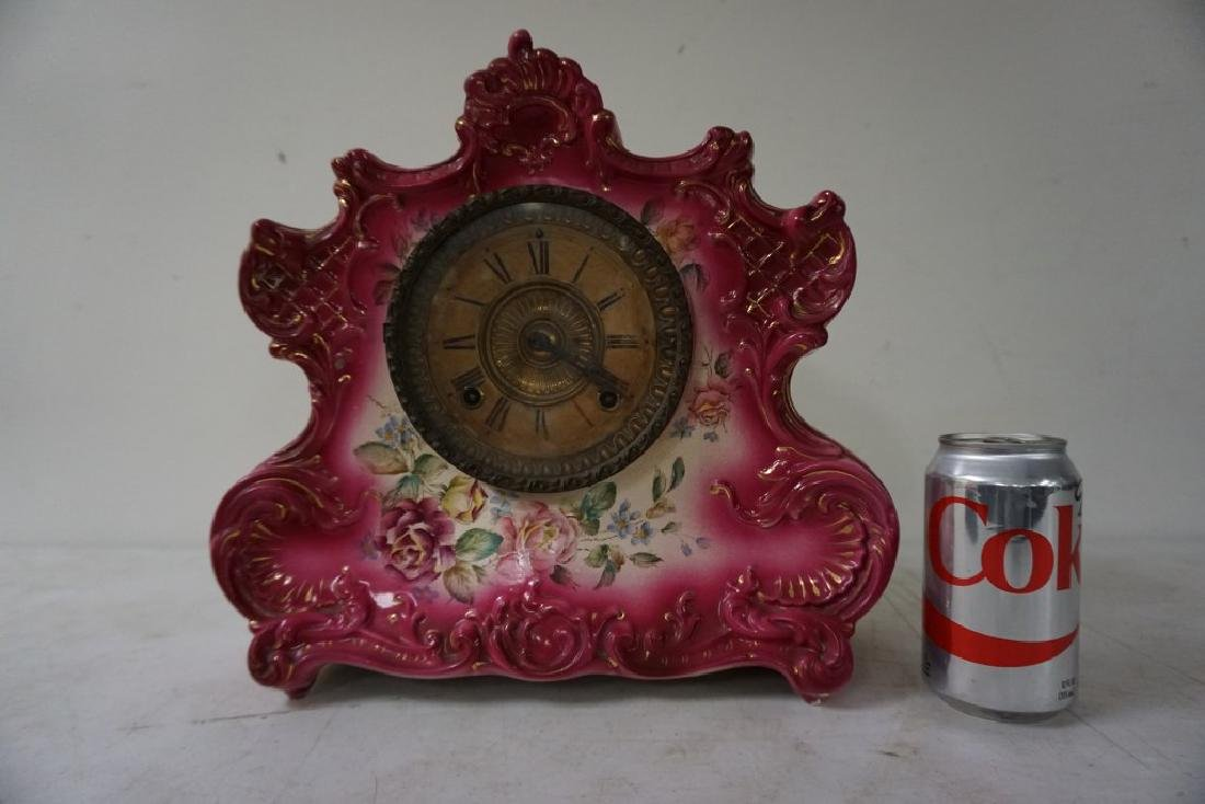 ANSONIA PORCELAIN CLOCK, DRESDEN EXTRA 8 DAY HOUR AND - 6