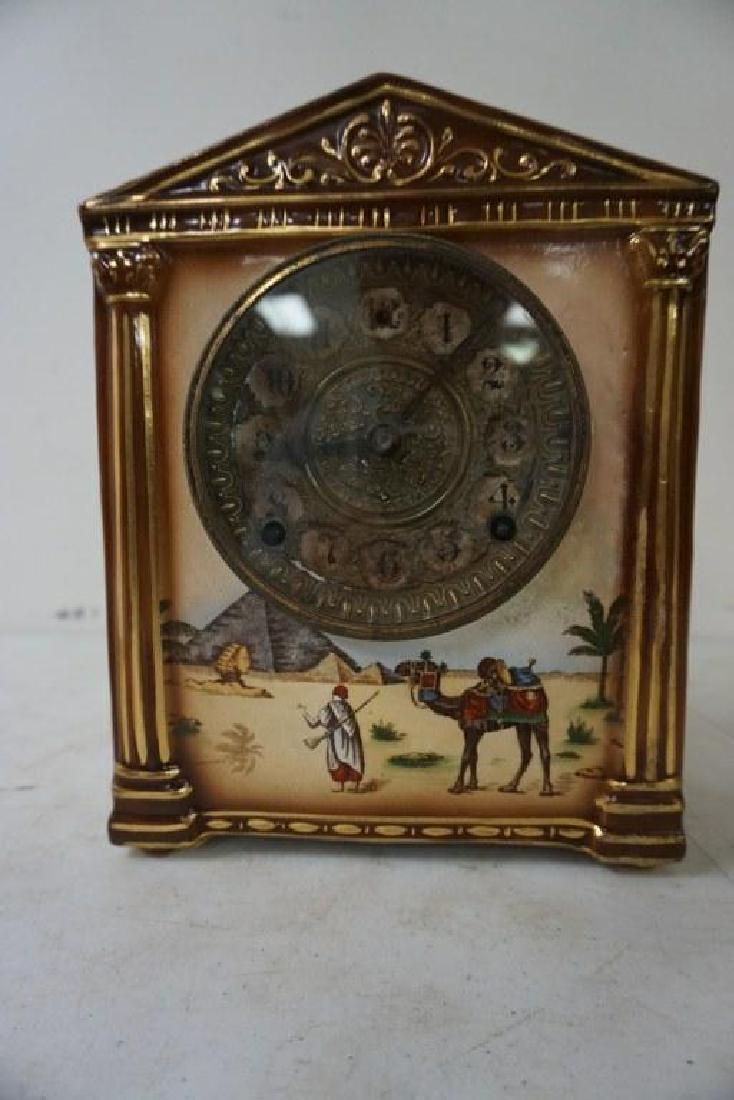 GILBERT SAHARA PORCELAIN MANTEL CLOCK, HAS HAIRLINE - 2