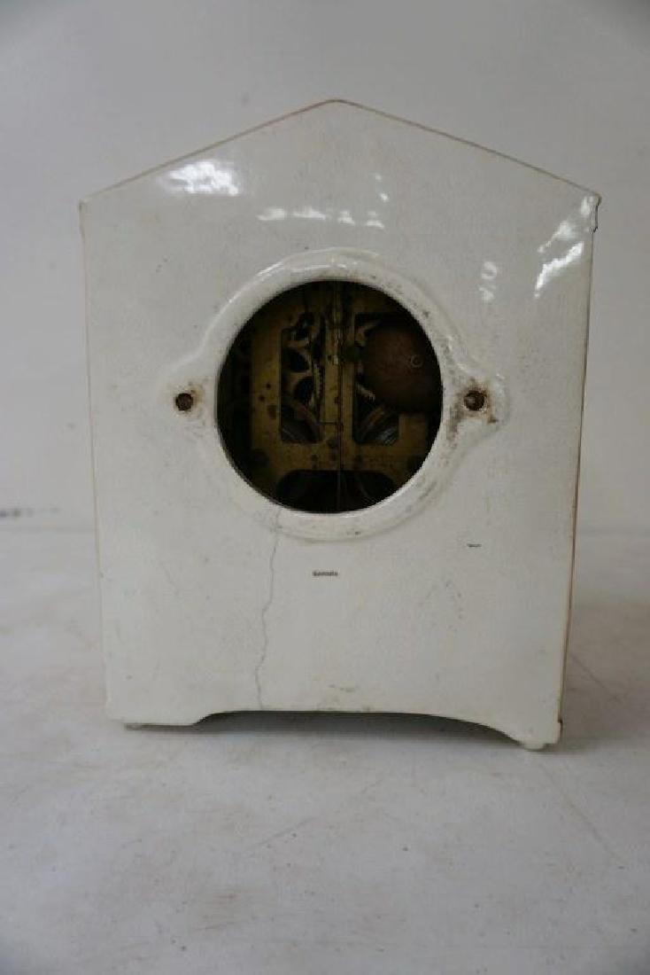 GILBERT SAHARA PORCELAIN MANTEL CLOCK, HAS HAIRLINE - 6