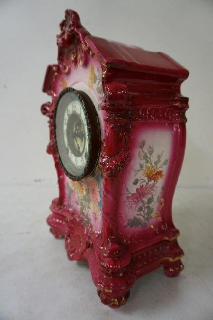 ANSONIA ROYAL BONN PORCELAIN MANTEL CLOCK W/FLORAL - 2